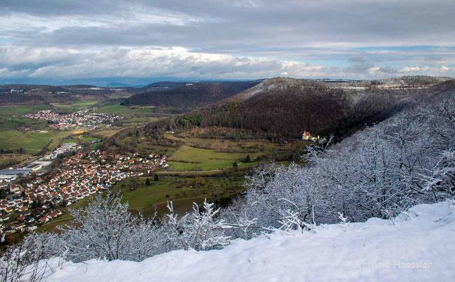Februar 2021, Blick von Berneck auf Deggingen mit Ave Maria