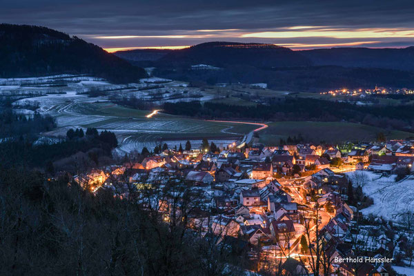 Januar 2020: Blick vom Hohenrechberg über Rechberg und Wißgoldingen zum Heldenberg