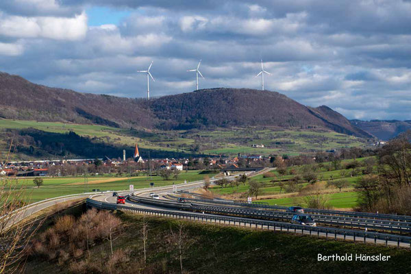 Februar 2021, Blick Richtung Gingen mit der neuen B 10