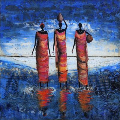 Femmes africaines  40 X 40 cm
