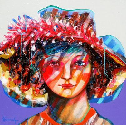 Enfant au chapeau  60 X 60 cm