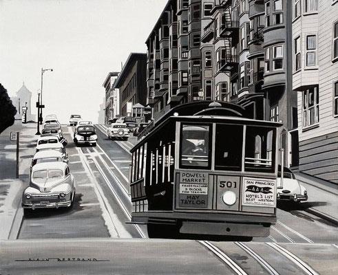 San Francisco Cable Car n&b  73 X 60 cm 20F