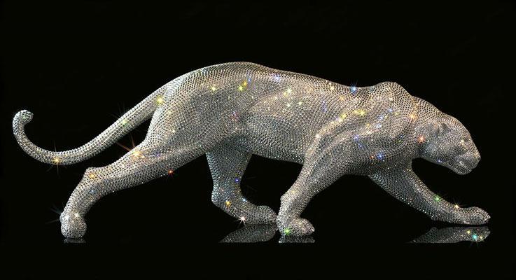 DiamondCat  - résine & crystals from Swarovski L 70 cm
