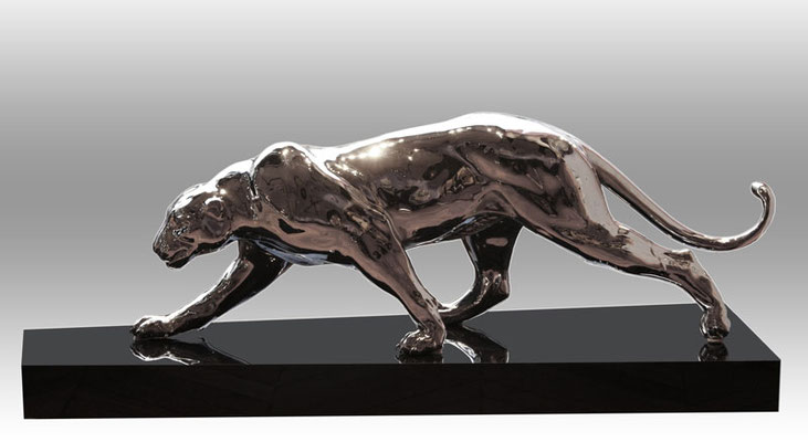 Panthère - Bronze chrome  L 125 cm
