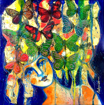 Femme aux papillons  30 X 30 cm