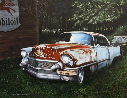 Cadillac en sous bois  146 X 114 cm
