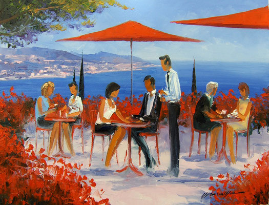 Terrasses rouges  73 X 54 cm