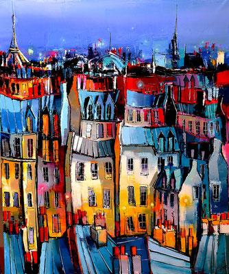 Les toits de Paris  120 X 100 cm