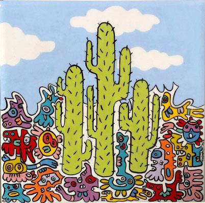 Carreaux de faïence - Cactus 26 X 26 X 3,5 cm encadré (20x20)