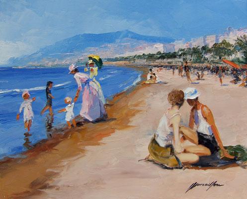 Plage Cannes 1930  46 X 38 cm