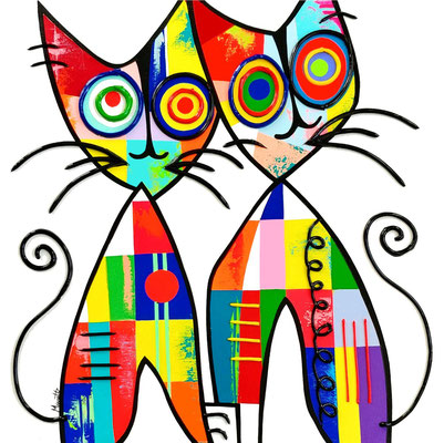 Cats in love  60 X 60 cm