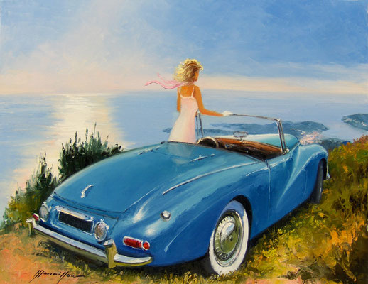 Grace Cabriolet bleu  81 X 65 cm