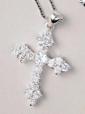 Collana argento croce zirconi