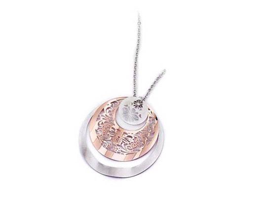 Collana argento lastra bicolore
