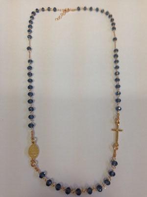 Collana rosario argento placcato e quarzi blu