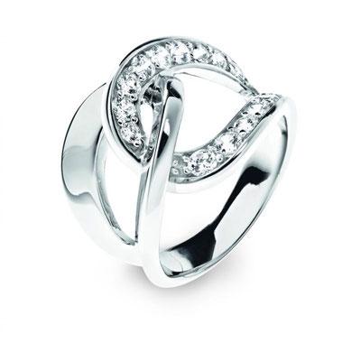 Anello argento nodo d'amore con zirconi