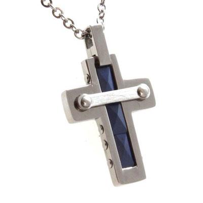 Collana croce in acciaio e ceramica