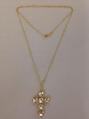 Collana croce argento pietre swarovski colorate