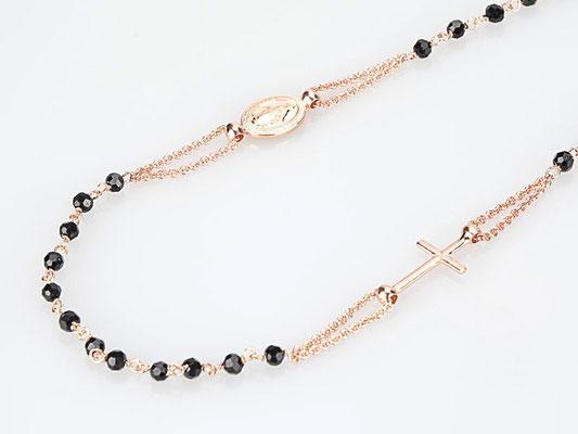 Collana rosario argento rosè e onice nero