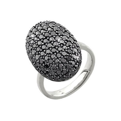 Anello argento con zirconi neri