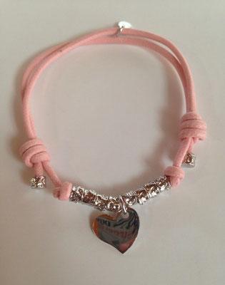 Bracciale cordino rosa e granelli argento con charms