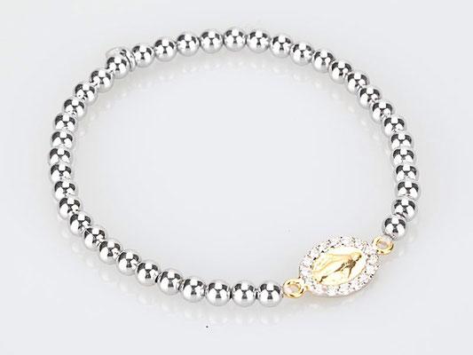 Bracciale elastico con palline argento e madonnina con zirconi