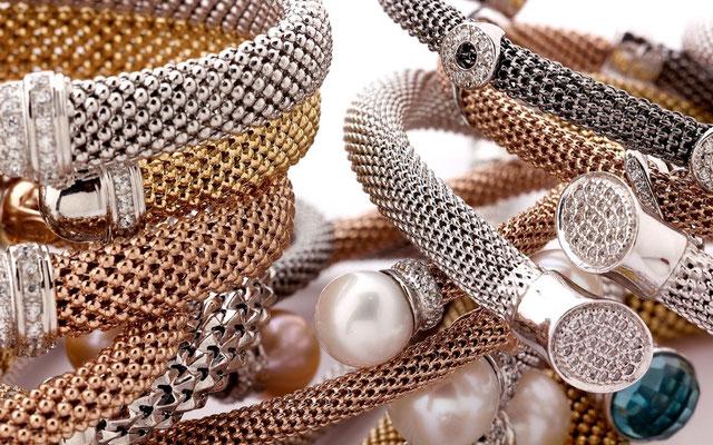 Bracciali argento semirigidi maglia coreana