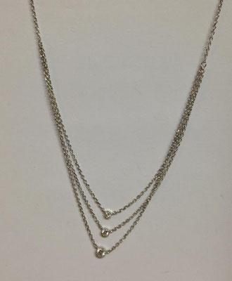 Collana argento con tripla catena e zirconi