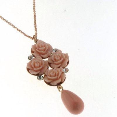 Collana argento grappolo rose pasta corallo
