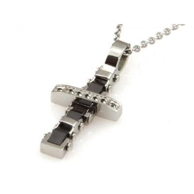 Collana croce in acciaio e onice