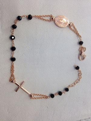 Bracciale rosario con pietre verde smeraldo