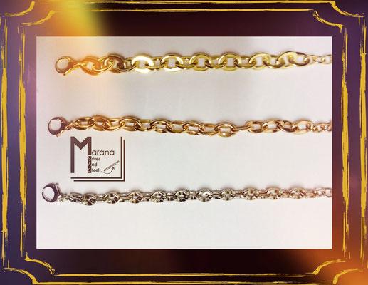 Bracciali in argento a maglia disponibili nei tre colori dell'oro