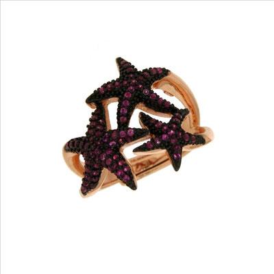 Anello triple stelle marine con zirconi