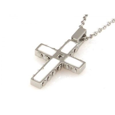 Collana croce in acciaio e agata bianca