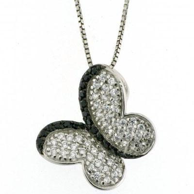 Collana argento farfalla zirconi