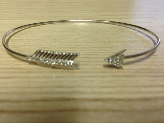 Bracciale rigido in argento e zirconi
