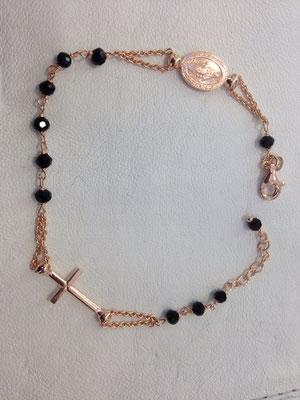 Bracciale rosario argento rosè e onice nero