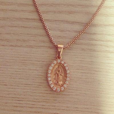 Collana argento rosè con madonnina miracolosa zirconi