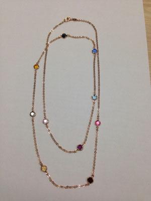 Collana lunga argento pietre swarovski colorate