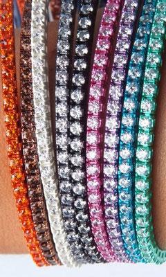 Bracciali tennis argento colorati