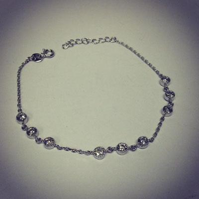 Bracciale argento con catena e zirconi