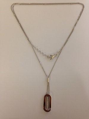 Collana lunga argento e pendente geometrico