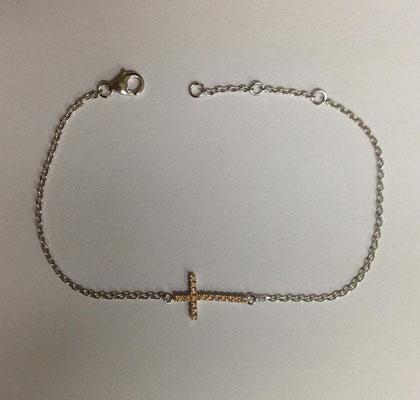 Bracciale argento con catena e croce zirconata