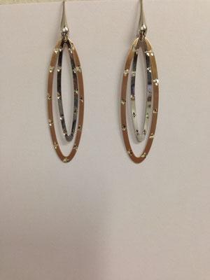 Orecchini pendenti lastra argento bicolor e zirconi