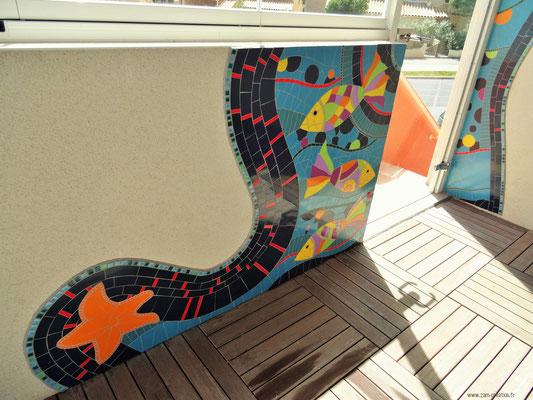 Poisson mosaïque terrasse