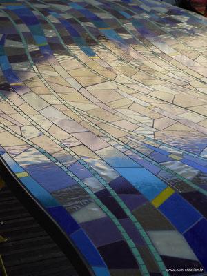 Plateau de table personnalisé vitrail en mosaïque Narbonne