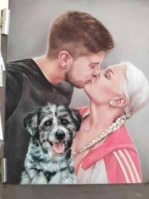 Paar und Hund Pastellgemälde