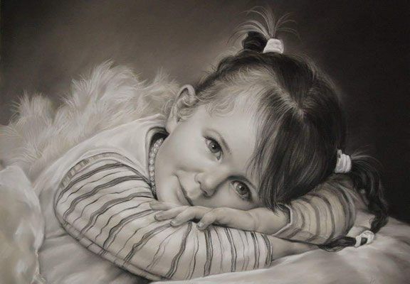 Kinder Portrait Pastell schwarz / weiß