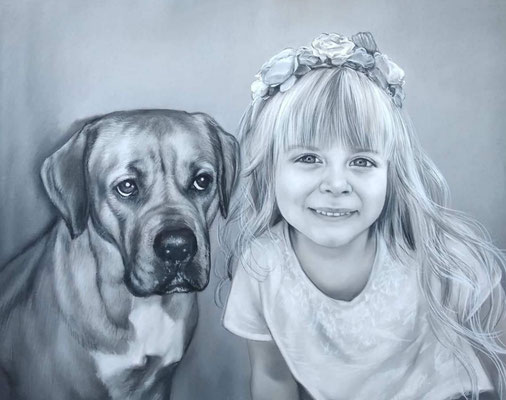 Kind und Hund Pastellgemälde