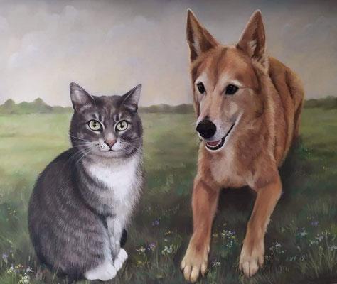 Katze und Hund Pastellgemälde